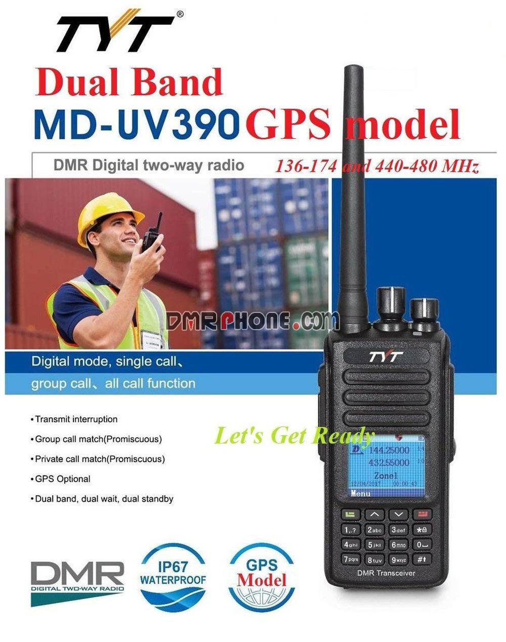 TYT MD-390 DMR Digital Radio Waterproof Dustproof IP67 Walkie Talkie Transceiver UHF 400-480MHz Two-Way Radio Compatible with Mototrbo 1000 Channels